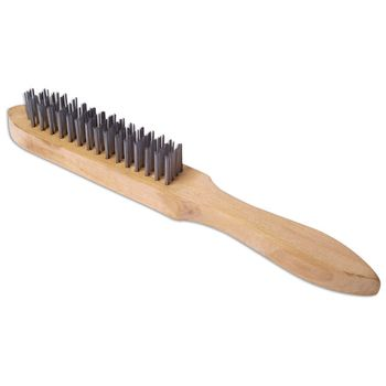 Laser Tools Wire Brush 4 Row Wooden Handle
