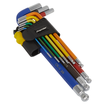 Ball-End Hex Key Set 9pc Long Colour-Coded Imperial